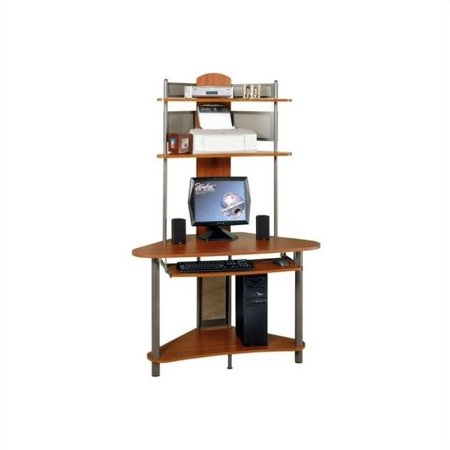 Studio Rta A Tower Corner Wood Computer Desk With Hutch In Pewter And Cherry