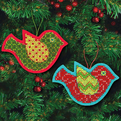 "Jolly Bird Ornaments Felt Counted Cross Stitch Kit, 5"" x 3-1/2"", 9-Count"