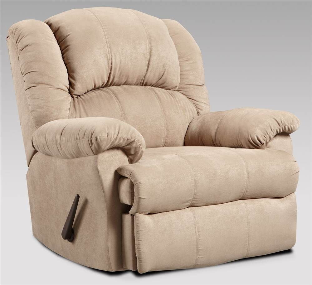 Recliner with Padded Cushions in Camel