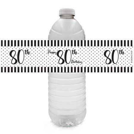 80th Birthday Water Bottle Labels, 24ct - Black and White Stripe and Polka Dot Birthday Party Supplies - 24 Count Stickers (80th Birthday Color)