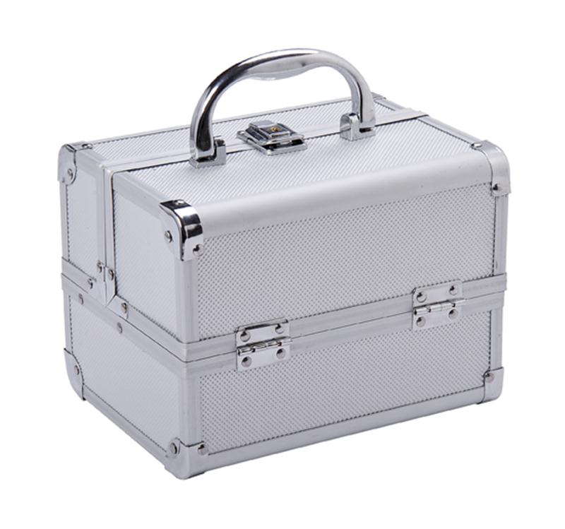 Soozier Cosmetics Makeup / Jewelry Travel Train Mini Case with Mirror - Silver