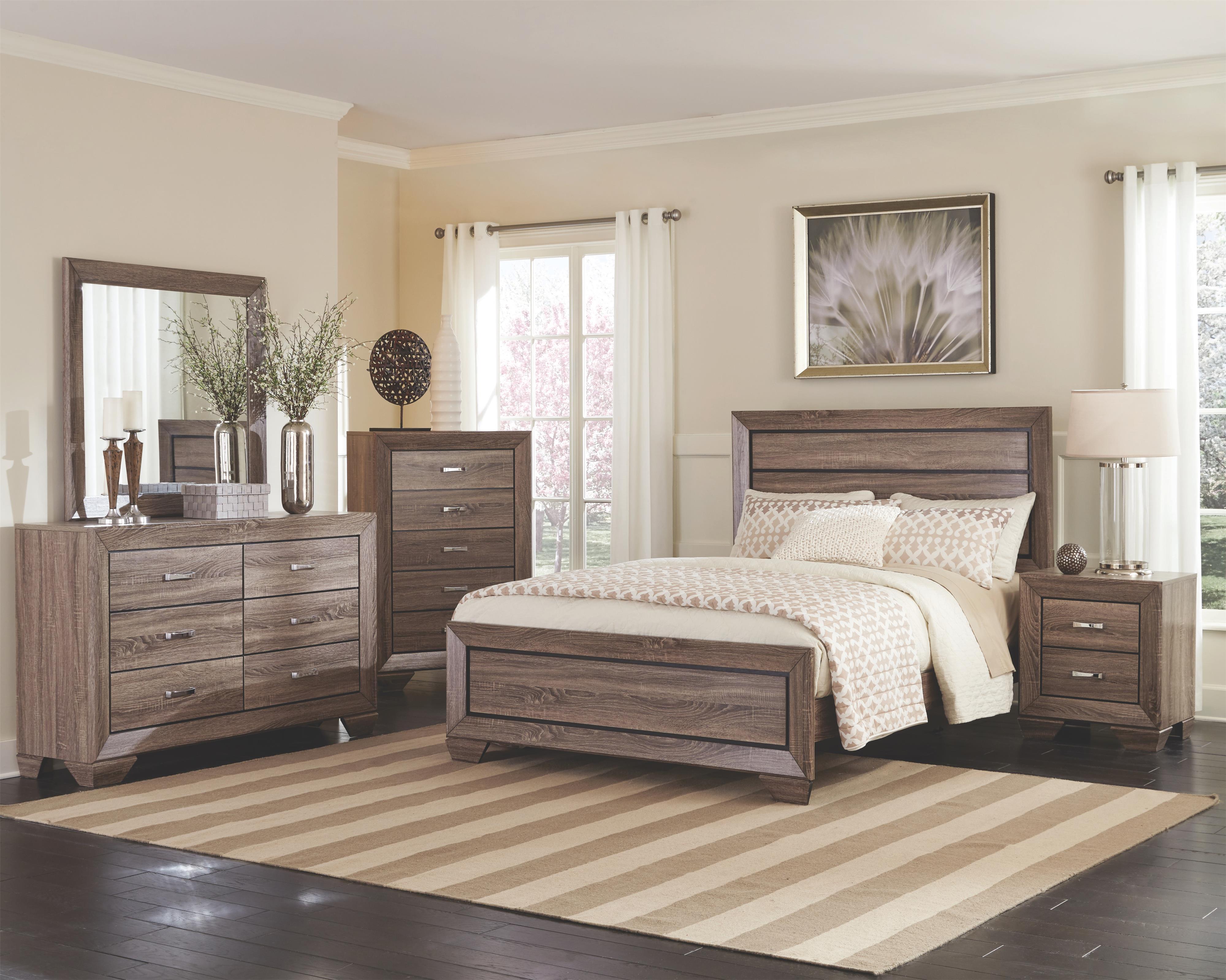 Bedroom Natural Oak Wood Greyish Brown Panel Design Eastern King Size Bed 4pc Set Modern Dresser Mirror Nightstand Walmart Com Walmart Com