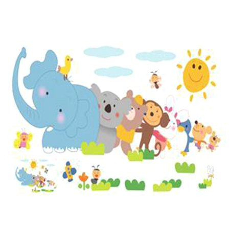 KABOER Cartoon Animals Removable Wall Stickers Animals Wall Sticker Ho