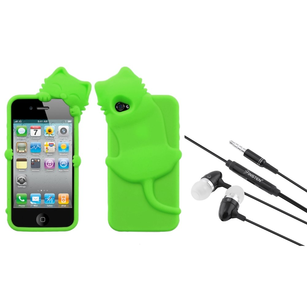 Insten Electric Green Cat Peeking Pets Case Cover For iPhone 4 4S + 3.5mm Headset