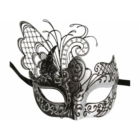 Kayso MEP008BKSL Black & Silver Sexy Butterfly Plastic Glitter Masquerade Mask with Laser Cut Metal Design & Clear Rhinestones, One Size for $<!---->