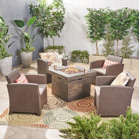 Ezequiel Outdoor 5 Piece Wicker Club Chair Chat Set With