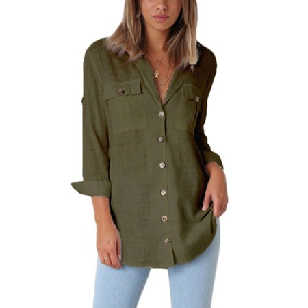 - Button Down Shirts  for Women Women Roll-up Sleeve OL Shirts Casual Loose Lapel V Neck Blouse Fashion Tops