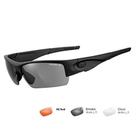 Tifosi Optics Tifosi Z87.1 Lore Matte Black Tactical Safety Sunglasses - Smoke/HC Red/Clear I9r1EQ