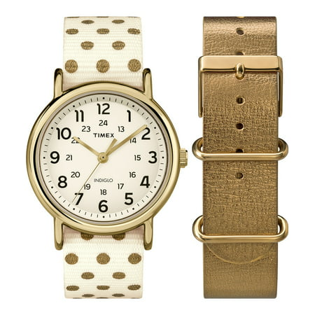 Women's TWG015200 Weekender 38 Cream/Gold Dots Nylon Slip-Thru Strap Watch Gift Set + Metallic Gold-Tone Leather (Timex Set Bracelet)