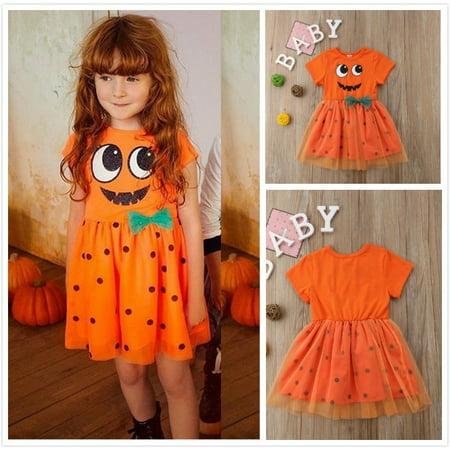 Princess Flower Baby Girl Halloween Pumpkin Costume Tutu Party Dress Clothes New
