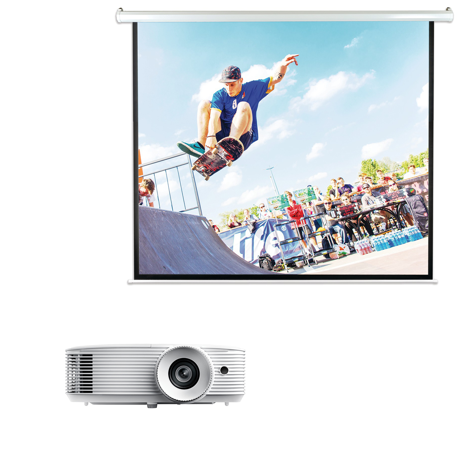 Optoma HD27e 1080p Home Entertainment Projector & Pyle PRJELMT106 Motorized Projector Screen 100""