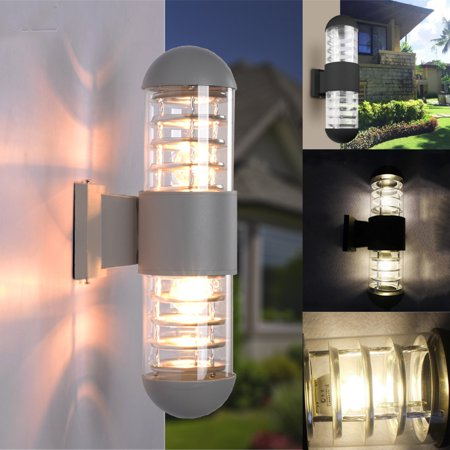 Led Wall Sconce Cylinder Porch Light Modern Lamp Up Down Black Grey