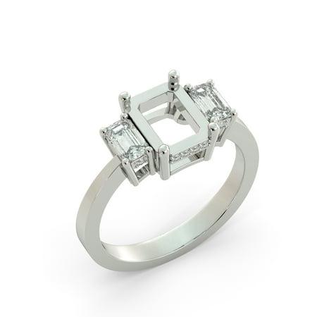 Emerald Semi Mount Ring - Emerald 3 Stone Diamond Semi Mount Bridal Round Engagement Ring 18k White Gold