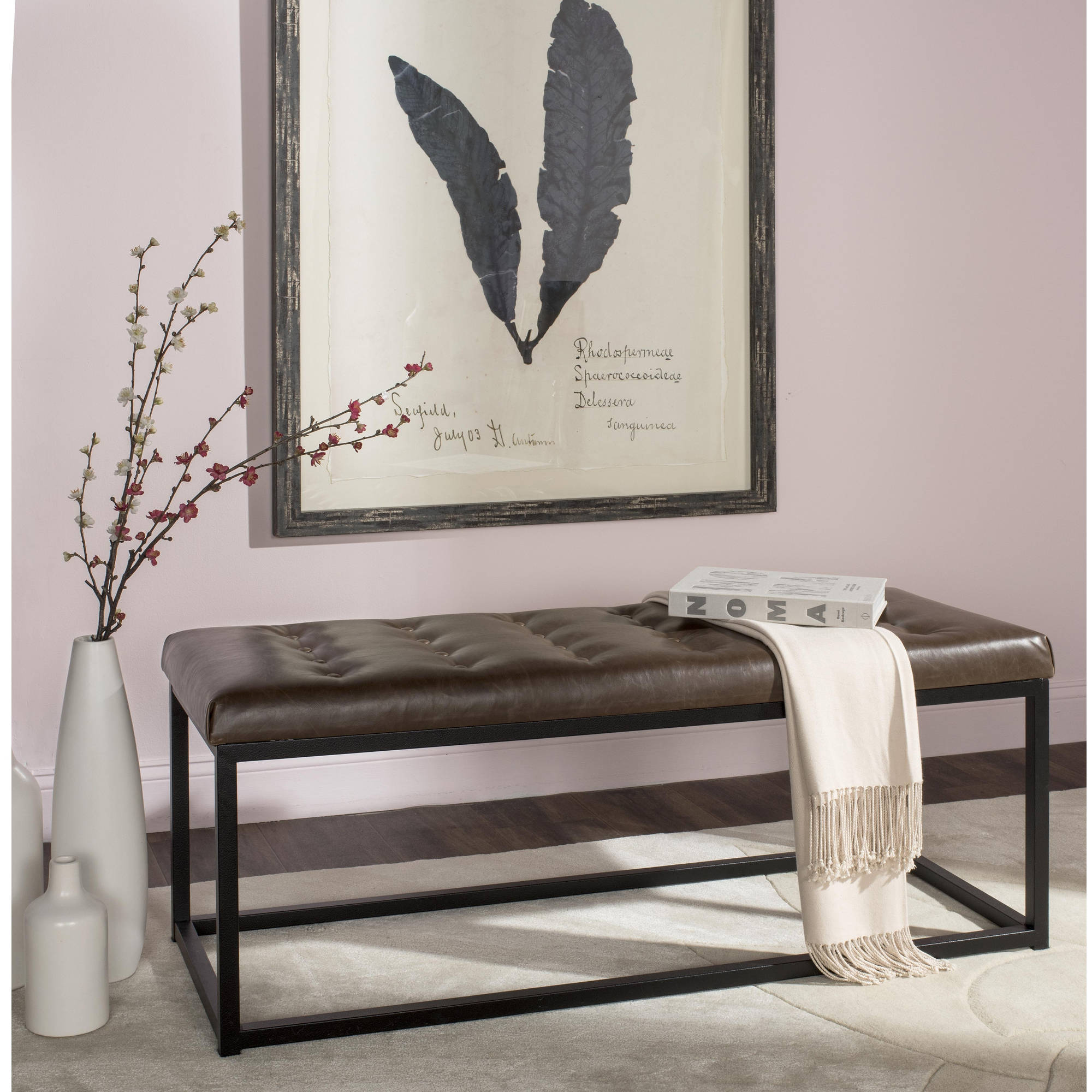 Safavieh Reynolds Bicast Leather Bench, Multiple Colors