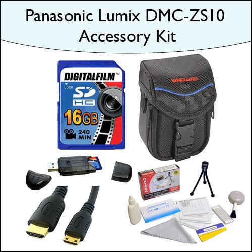16GB Accessory Package for Panasonic DMC-ZS10 Including 16GB SDHC High Speed Memory Card, Vanguard Sydney-6B Compact Digital Camera Bag, Mini HDMI Cable and More!