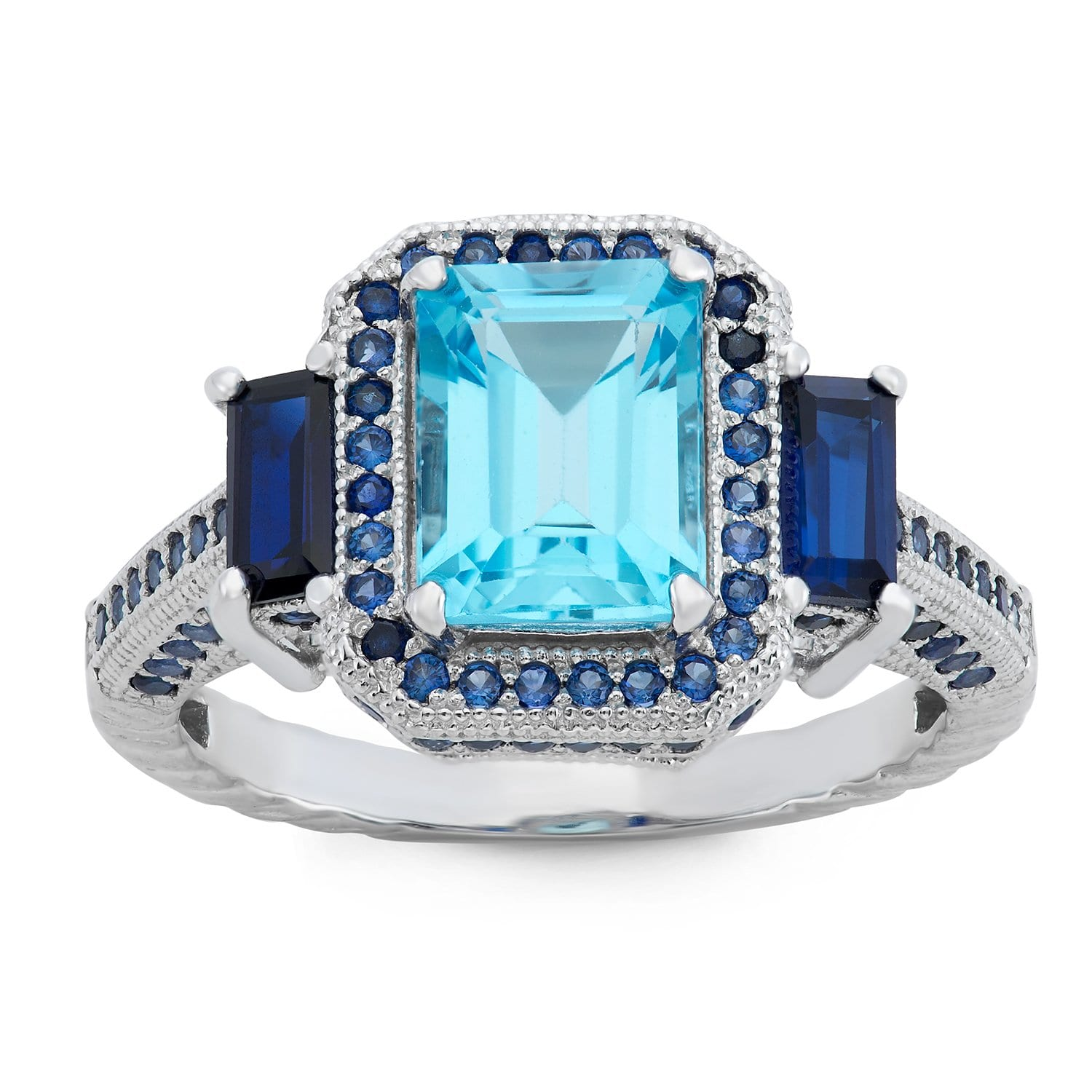 Gioelli Designs  Sterling Silver Swiss Blue Topaz and Created Sapphire Designer Ring