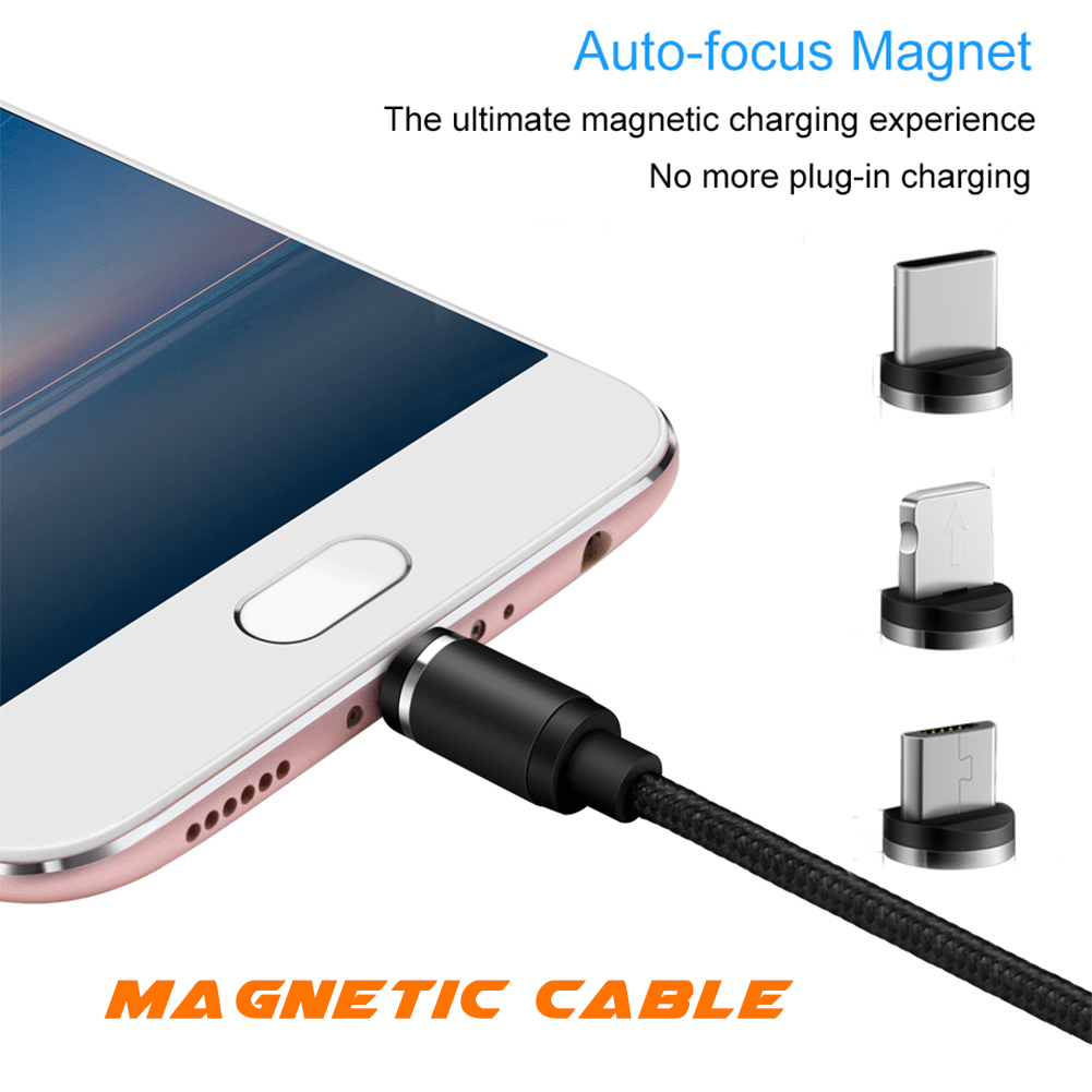 3 in 1 2.4A Magnetic Micro USB Charging Cable Fast Charger Adapter for Iphone Android Samsung LG HTC HUAWEI