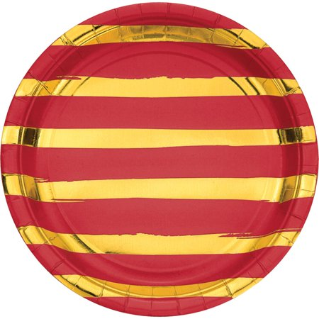 """Pack of 96 Classic Red and Shining Gold Foil Dinner Plates 8.875"""""""