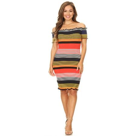 d87c16aed4e NEW MOA - NEW MOA Women s Lightweight Multicolor Striped Bodycon Slim Fit  Mini Dress Made in USA - Walmart.com