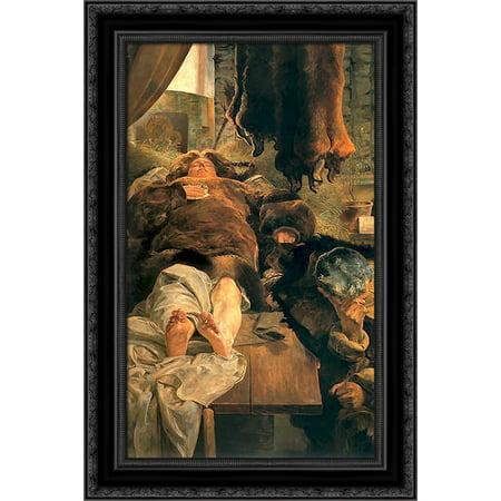 Elle death 17x24 Black Ornate Wood Framed Canvas Art by Malczewski,