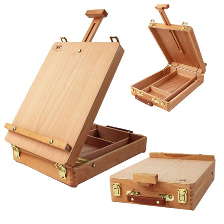 zimtown 4k french box easel portable folding beech wood table top