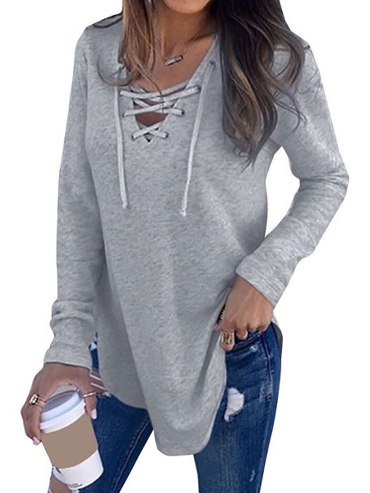 Womens Lace V Neck Long Sleeve Casual Loose T Shirt Ladies Pullover Jumper Tops