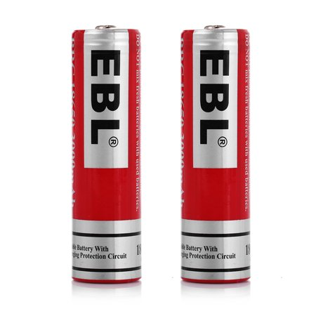 EBL 2-Pack 18650 Battery 3.7v 3000mAh Li-ion Rechargeable