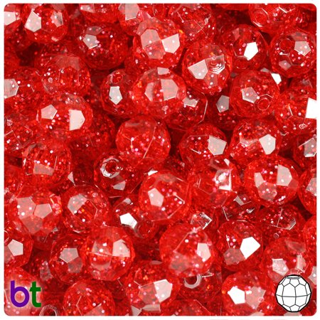10 Mm Faceted Beads - BeadTin Ruby Sparkle 10mm Faceted Round Craft Beads (210pcs)