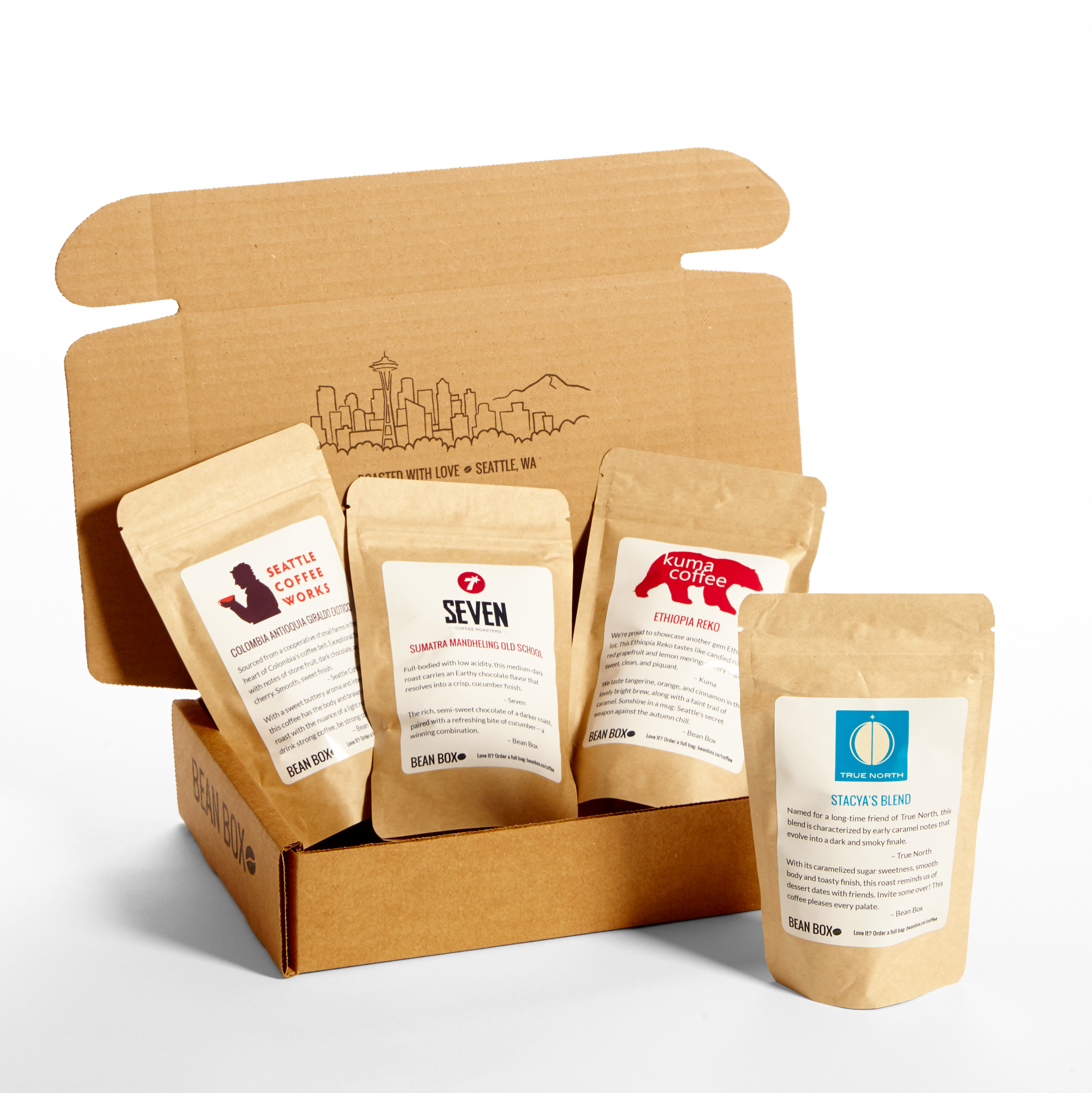 Bean Box Gourmet Coffee Sampler, Variety of Roasts, 4 Bags