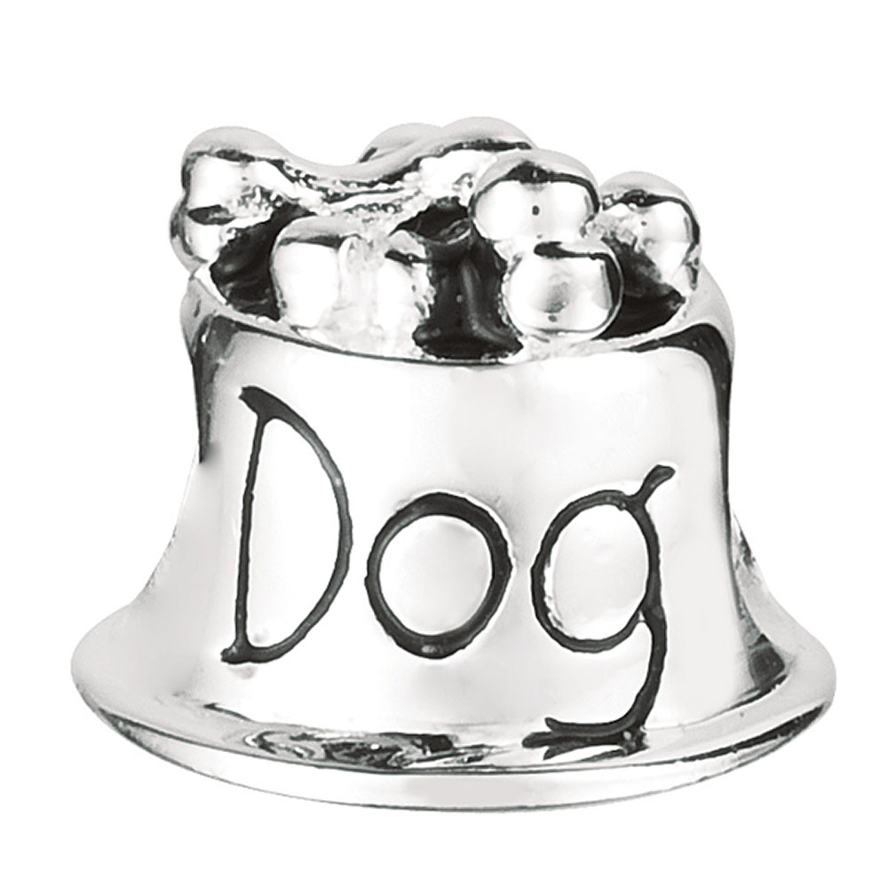 Sterling Silver Dog Food Bowl Bead Charm