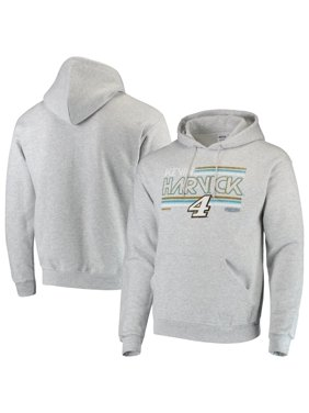 Men's Checkered Flag Gray Kevin Harvick Logo Pullover Hoodie