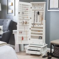 Belham Living Swivel Cheval Mirror Jewelry Armoire- White