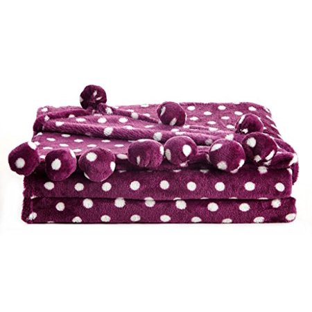 Polka Dot Blankets (Ultra Lush Twin Size Reversible Pom Pom Throw Blanket (60