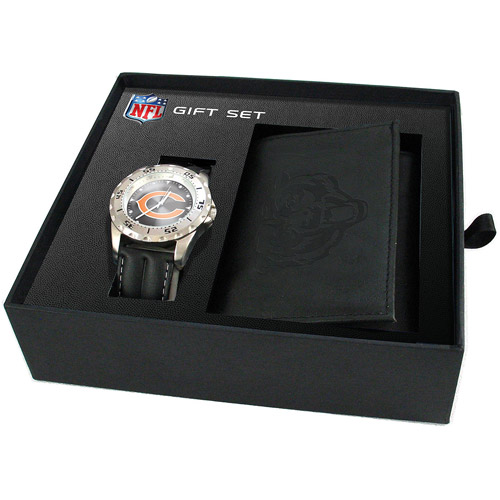 Game Time NFL Men's Chicago Bears Watch and Tri-Fold Wallet Set, Black