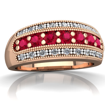 Lab Ruby Anniversary Band Ring in 14K Rose Gold by