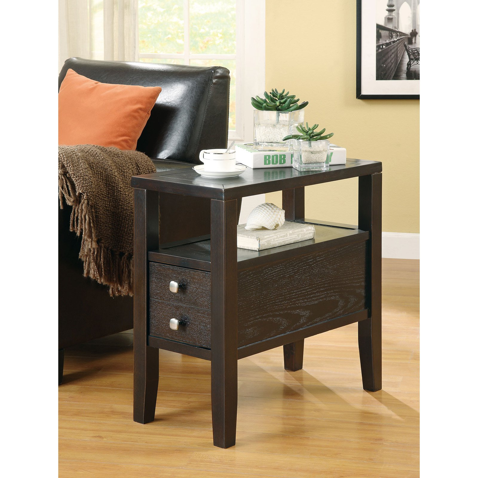 Coaster Furniture Cappuccino Modern Chairside End Table by Coaster