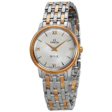 OMEGA Women's De Ville 27.4mm Two Tone Steel Bracelet & Case Quartz MOP Dial Watch 424.20.27.60.05.002
