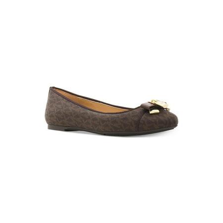 Michael Kors Womens Alice Leather Round Toe Ballet Flats, Brown, Size 9.0 (Flats Michael Kors)
