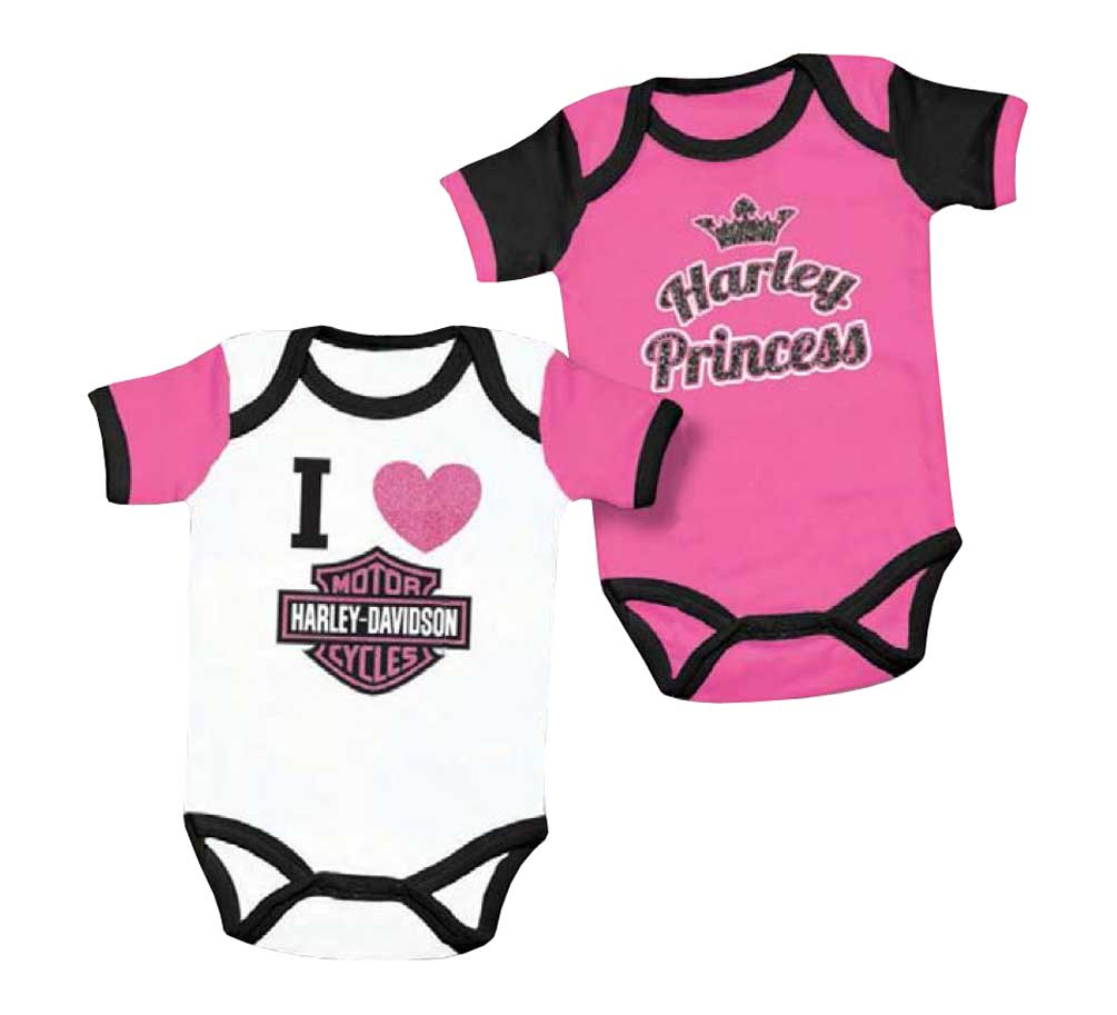 Harley-Davidson Baby Girls\' Princess Creeper Set, 2 Pack Pink/White ...