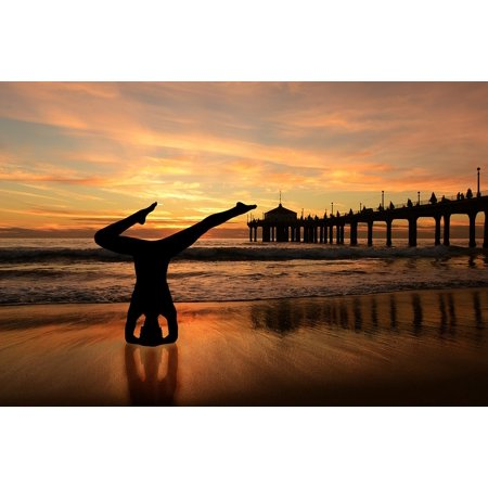 Laminated Poster Headstand Sunset Beach Yoga On The Orange Sky 24x16 Adhesive Decal
