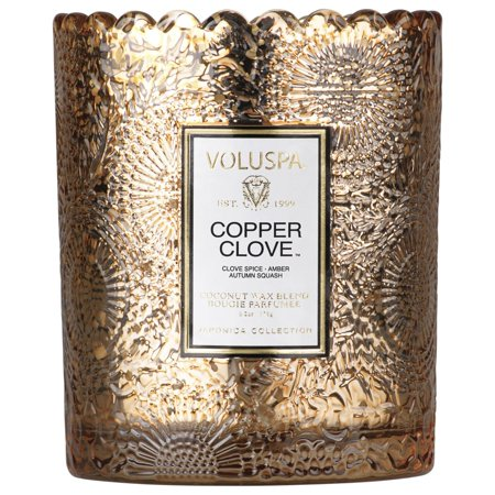 Clove Tree Candle - Voluspa SCALLOPED EDGE EMBOSSED GLASS CANDLE 6.2 Copper Clove