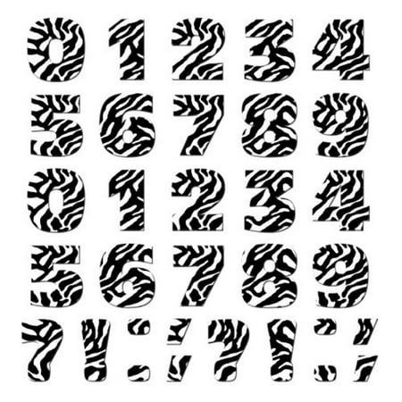 Graphics and More Numbers Punctuation Novelty Gift Locker Refrigerator Vinyl Magnet Set, Zebra Print Animals