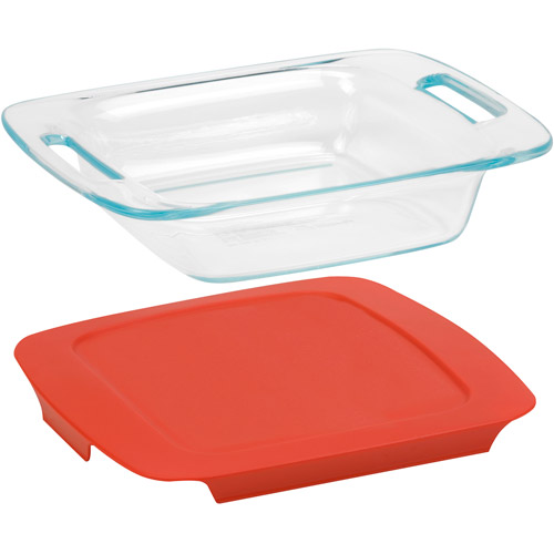 "Pyrex Easy Grab 8"" Square Baking Dish with Cover, Glass"