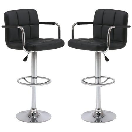 Vogue Furniture Direct Black PU Leather Adjustable Height Barstool Set with Armrest (Set of 2)