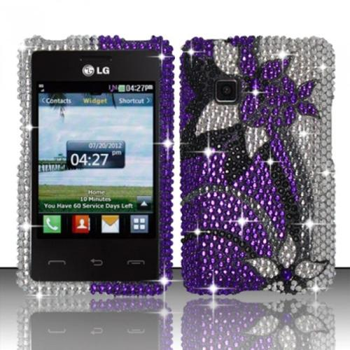 Insten Purple/Silver Vines Bling Diamond Rhinestone Hard Phone Premium Case Cover For LG 840G
