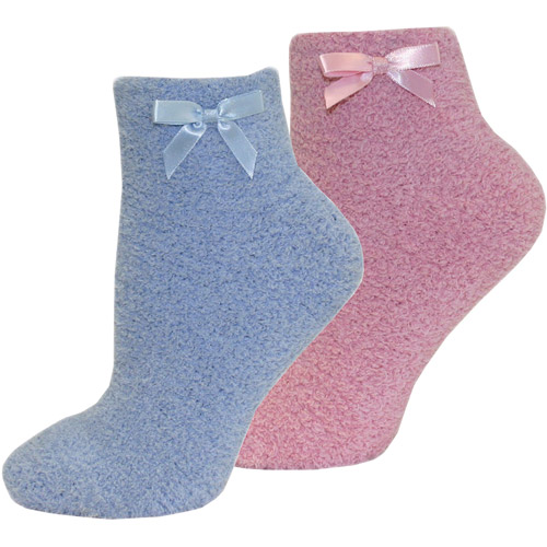 MUK LUKS Women's Chenille Slipper Sock with Bow, 2-Pair Pack