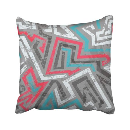 ARTJIA Colorful Tribal Grunge Colored Graffiti Urban Street Sketch Watercolor Young Abstract Pillowcase Throw Pillow Cover Case 18x18 inches