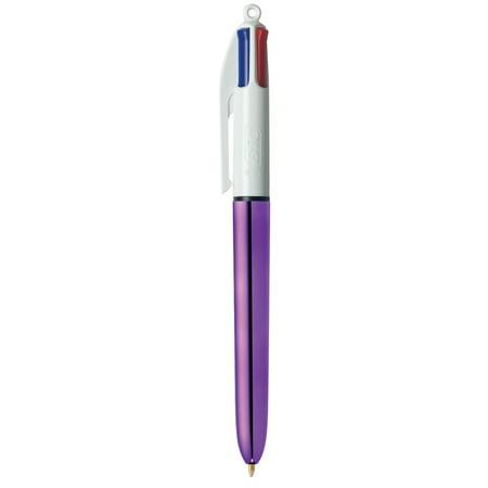 BIC 4 Color Shine Single Ball Pen, Medium Point (1.0 mm), Purple Barrel, Assorted, (Medium 1 Mm Ball)