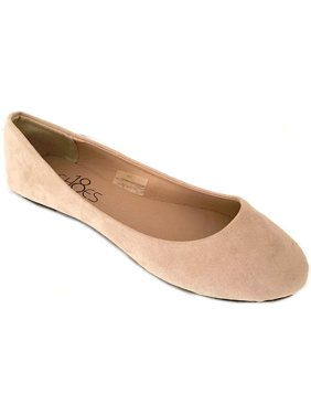 Womens Ballerina Ballet Faux Suede Flat Shoes 3 Colors 6, Nude Micro Suede 8600