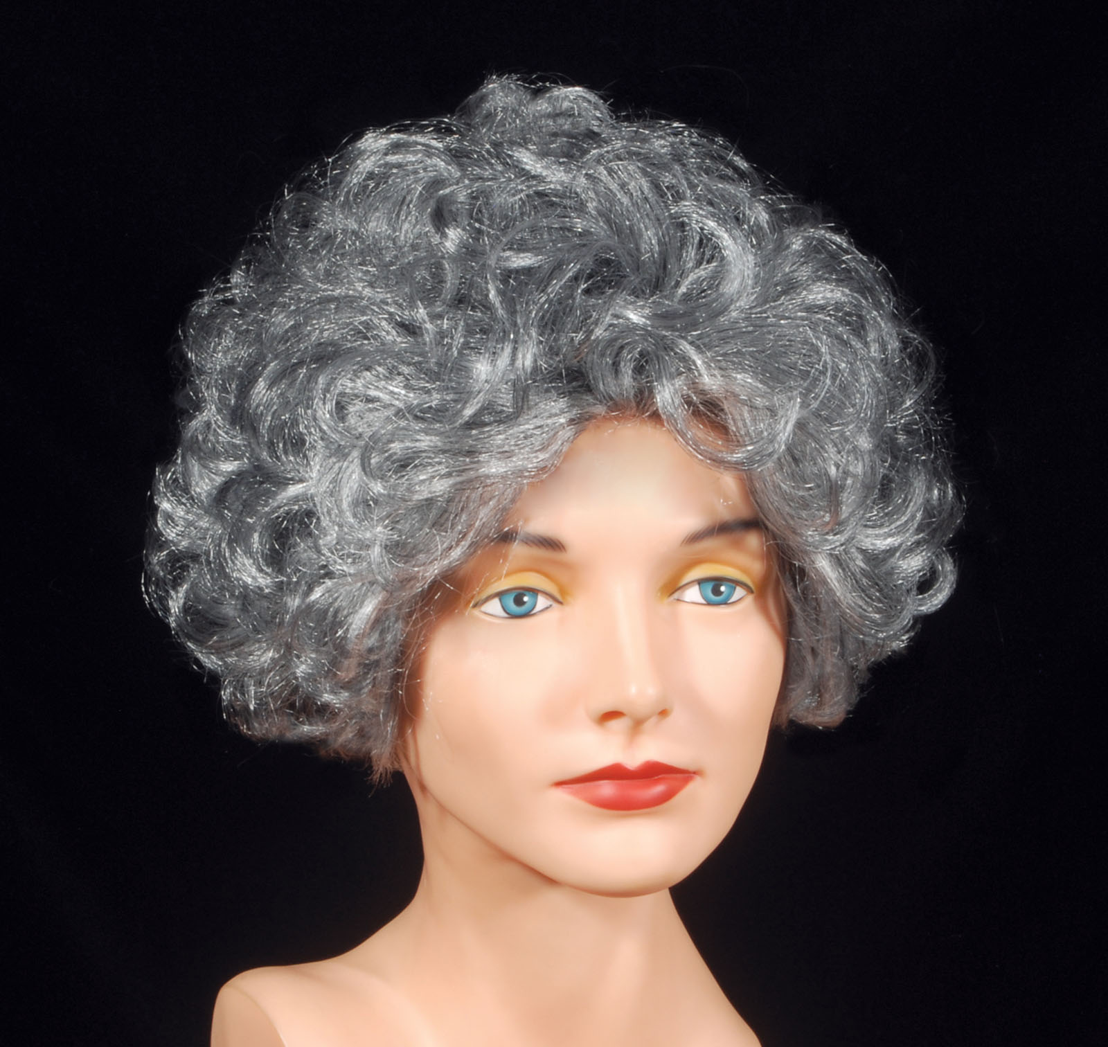 Loftus Curly Short Grandma Old Lady Costume Wig, Gray, One Size